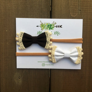 White and Black Pom Pom Bows (Set of 2)
