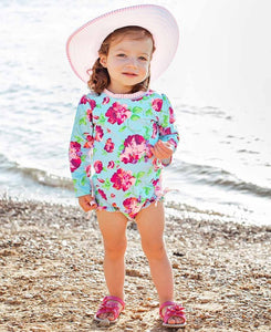 Rufflebutts Life is Rosy One Piece Rash Guard (ONE 0/3M LEFT)
