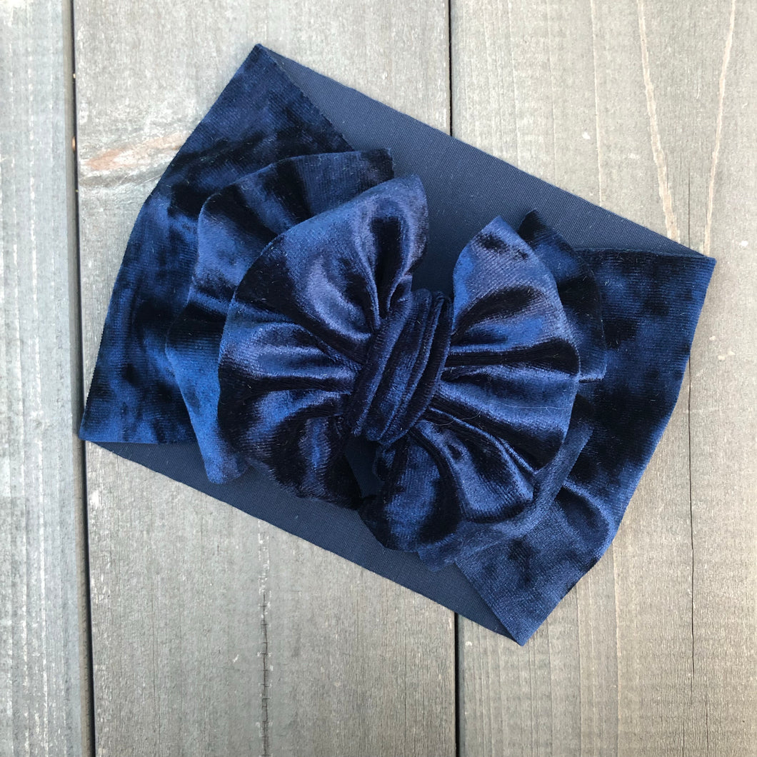 Navy Velvet Headwrap