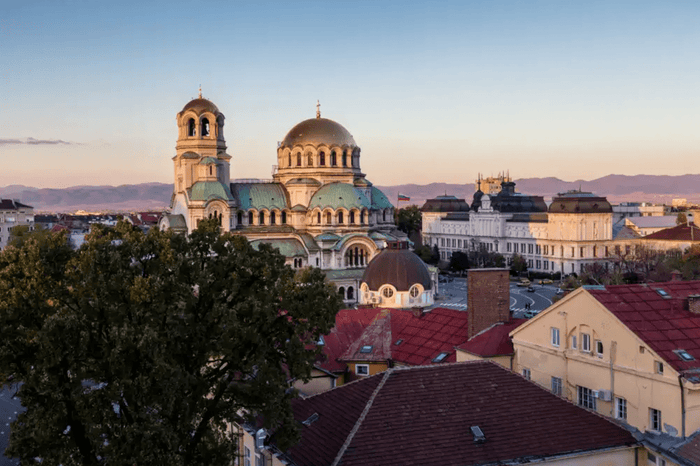 Skyline of Sofia, the largest city in Bulgaria