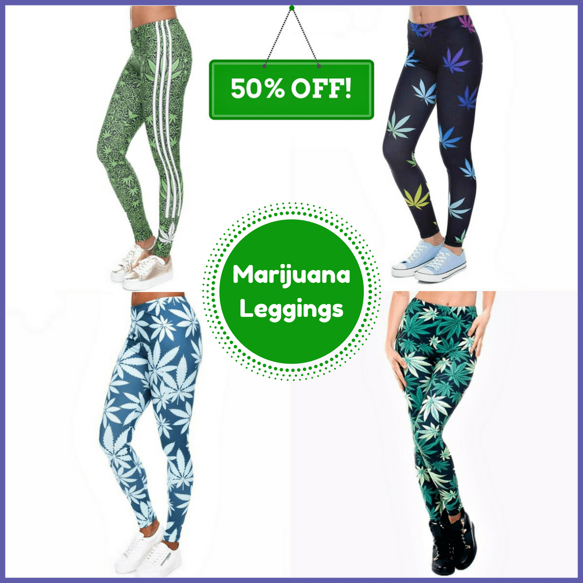 Marijúana Leaf Leggings - Plus Minus Co.