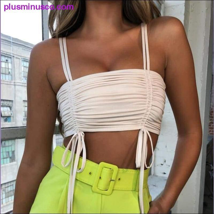 Crop Top Sexy Lace Up Off Shoulder Ruched Backless Basic Top Short Drawstring Clubwear Green White - Plus Minus Co.