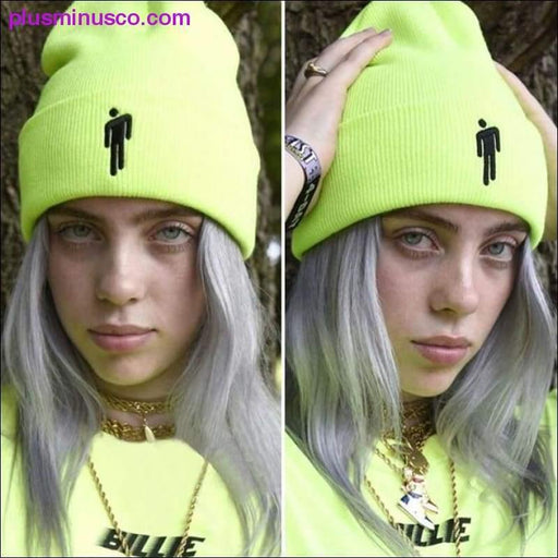 Stickerei Billie Eilish Beanie Warm gestrickte Winter Unisex Solid Hip-Hop Hüte - Plus Minus Co.