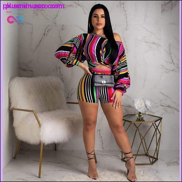 Plus Size 2 Two Piece Set Puff Sleeve Loose Crop Top and - Plus Minus Co.