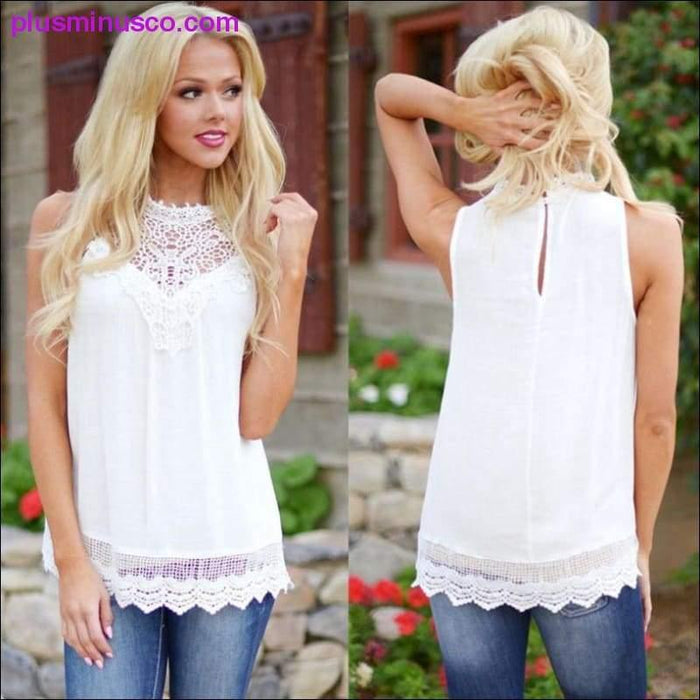 Tops high quality girls Fashion lace Vest Sleeveless t-Shirt Tops Casual Loose summer tops - Plus Minus Co.