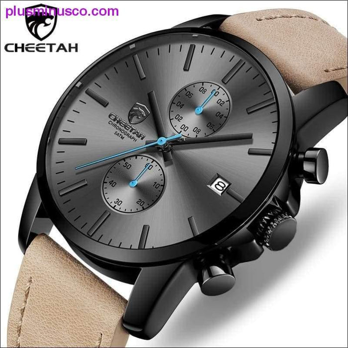 2019 Men Watch CHEETAH Brand Fashion Sports Quartz Watches Mens Leather Waterproof Chronograph Clock - Plus Minus Co.