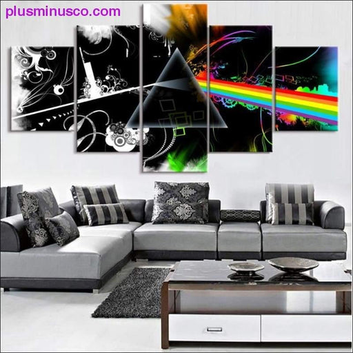 5 stykki striga list: The Dark Side of Moon Picture Canvas Painting - Plus Minus Co.