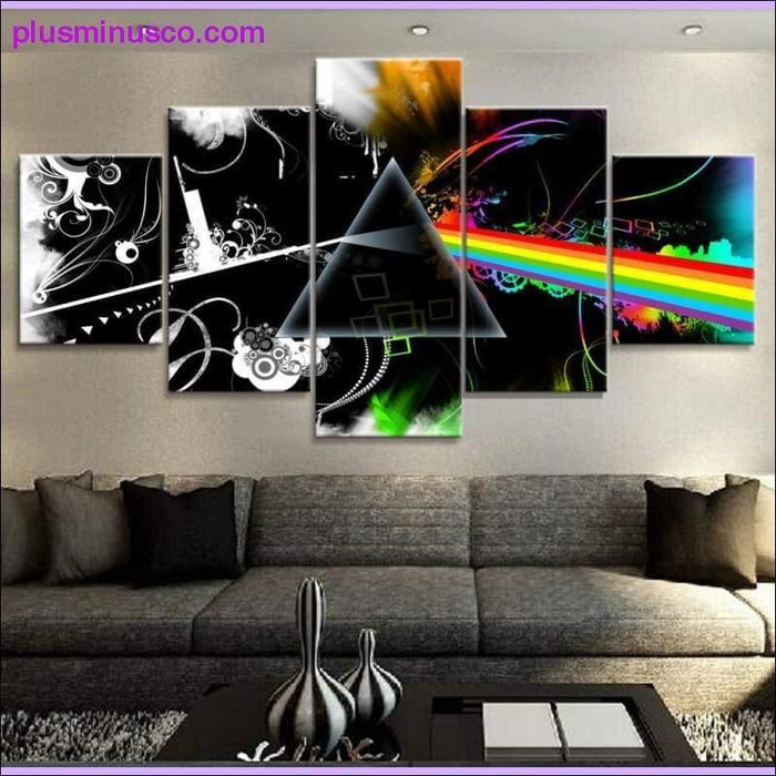 5 Piece Canvas Art: The Dark Side of Moon Picture Canvas Painting - Plus Minus Co.