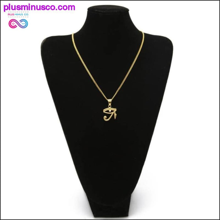 Eye Of Horus Pendant Stainless steel Gold Color Necklace - Plus Minus Co.