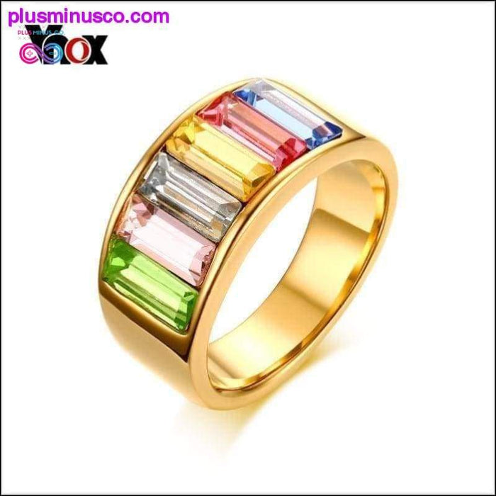 Round Multi-Colored Gemstone Rainbow Ring Perfect Gift for - Plus Minus Co.