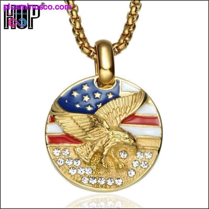 American Flag Eagle Hawk Round Gold Stainless Steel Necklace - Plus Minus Co.
