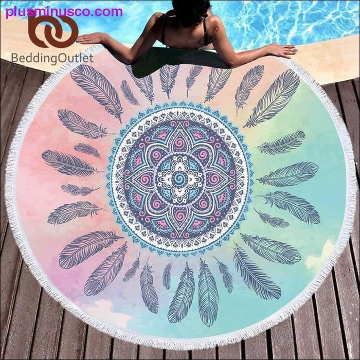 BeddingOutlet Feathers Tassel Mandala Tapestry Boho Round Beach Towel Pink and Blue Toalla Sunblock - Plus Minus Co.
