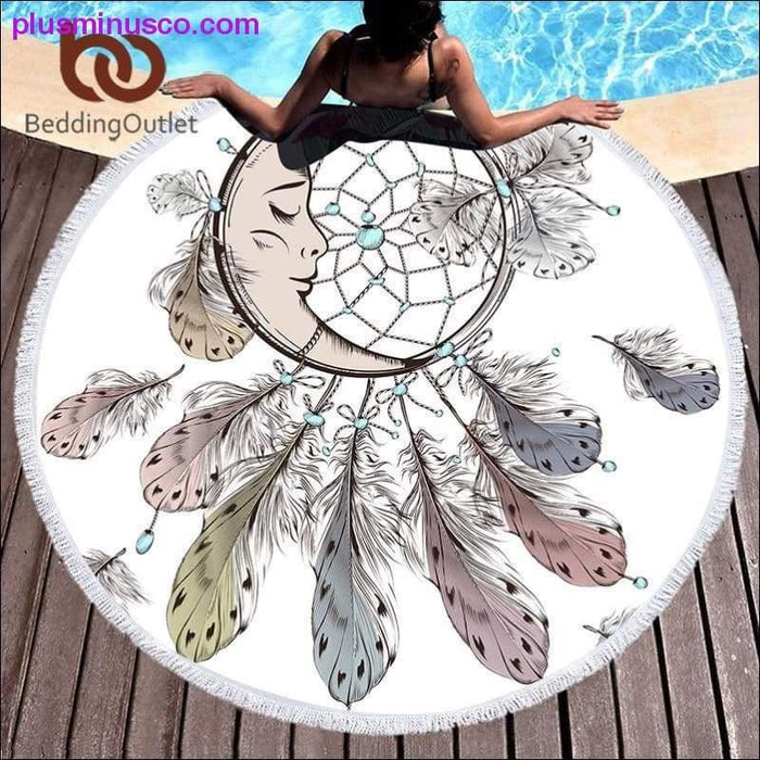 BeddingOutlet Moon and Dreamcatcher Tassel Mandala Tapestry Bohemian Round Beach Towel Toalla - Plus Minus Co.