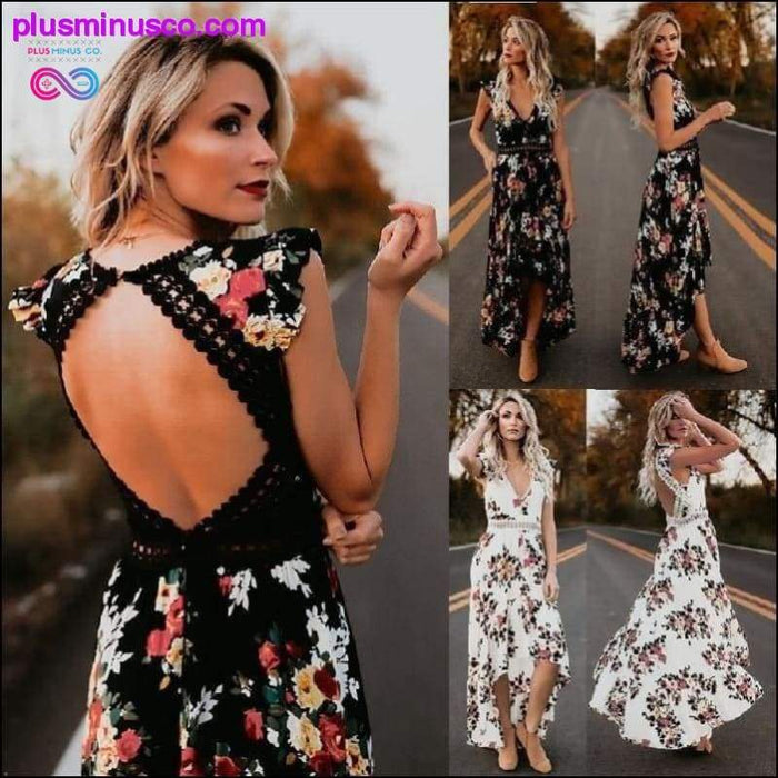 Boho Backless Floral Printed Hollow Out Women Summer Dress - Plus Minus Co.