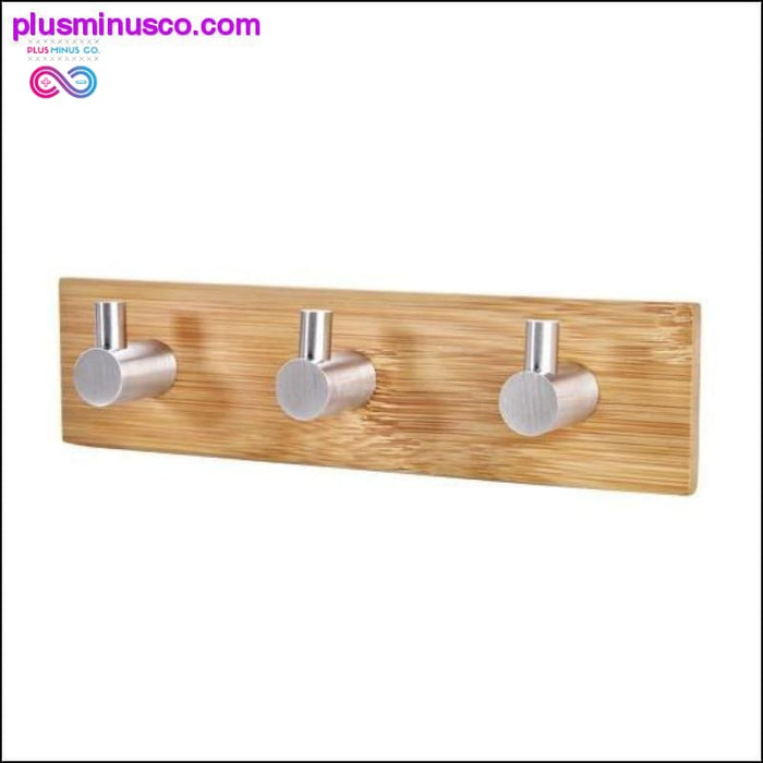 Adhesive Natural Bamboo Stainless Steel Hook Wall Clothes - Plus Minus Co.
