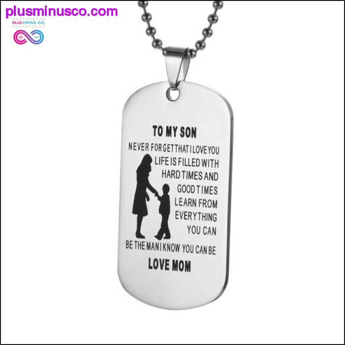 My Son Tag Dog Collar Stainless Steel Mother son Pendant - Plus Minus Co.