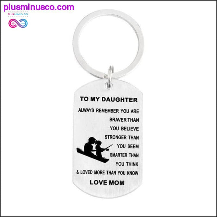 """QIHE JEWELRY Personalized keychain with dog tag """"You are - Plus Minus Co."""