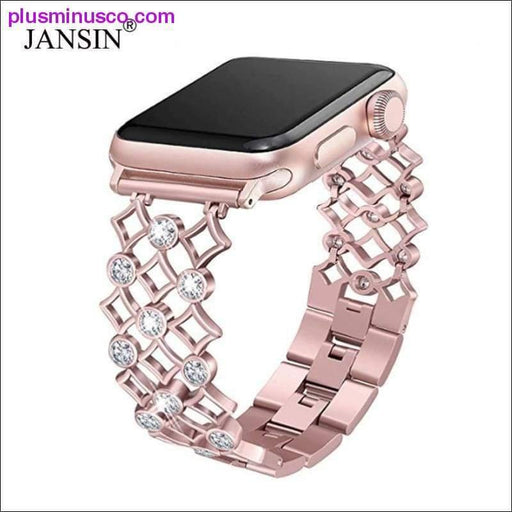 Diamond Stainless Steel Apple Watch Band 38mm, 42mm, 40mm, 44mm Series 4 3 2 1 - Plus Minus Co.