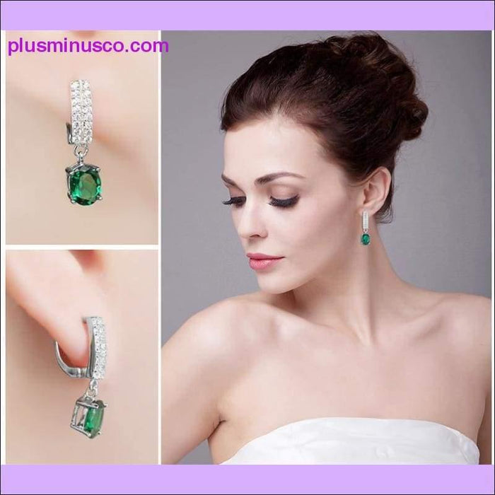 Emerald Clip May Birthstone Earrings 1.7ct Oval, 925 Sterling Silver - Plus Minus Co.