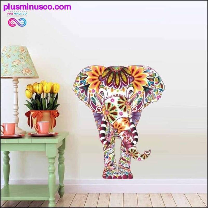 Floral & Colorful Elephant Wall Decals Sticker For Living - Plus Minus Co.