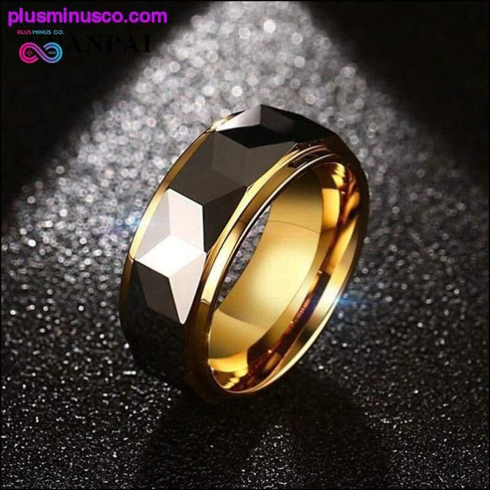 Gold Color Tungsten Ring For Men Jewelry 8MM Black Carbide - Plus Minus Co.