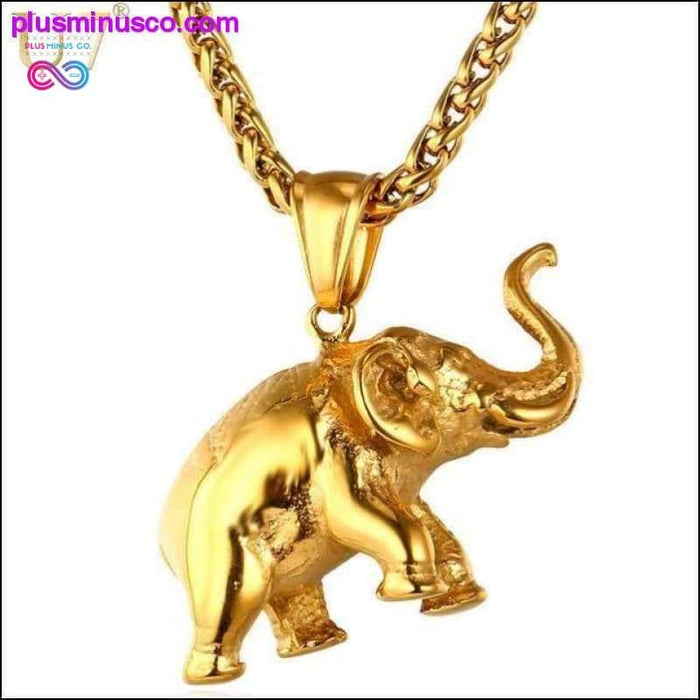 Unisex Stainless Steel Gold Color Elephant Necklace and - Plus Minus Co.