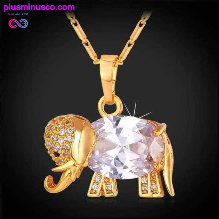 Zirconia Elephant Crystal Necklace and Pendant For Women - Plus Minus Co.
