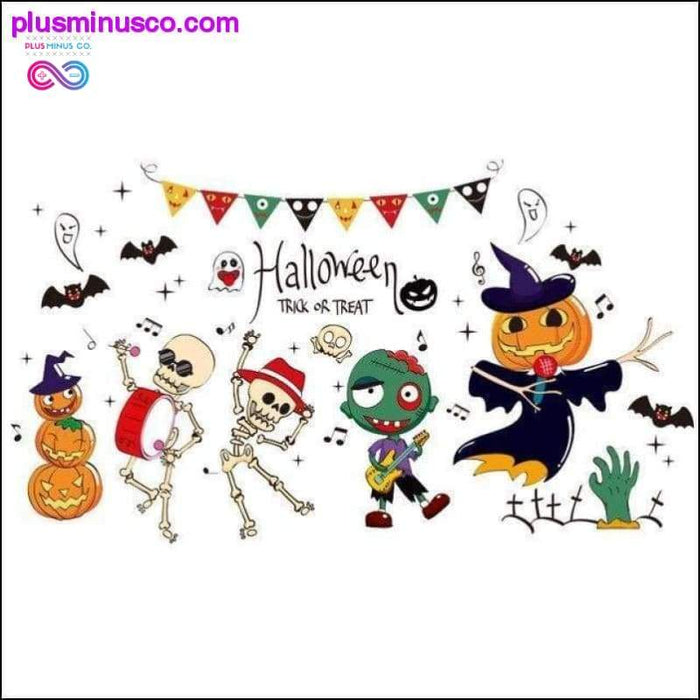 Halloween Glass Stickers PVC Material DIY Bats Witch Wall - Plus Minus Co.