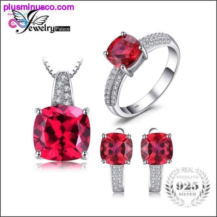 JewelryPalace Gemaakt Ruby Ring Ketting Clip Oorbel - Plus Minus Co.