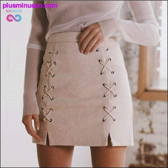 Lace Up Women's Suede Pencil Skirts with Pockets at - Plus Minus Co.