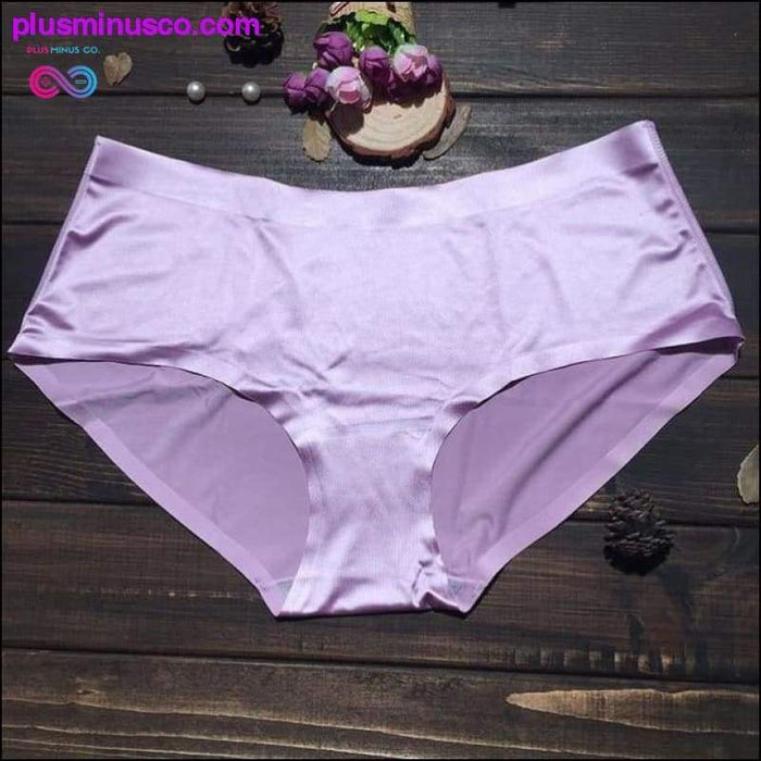 Plus Size Seamless Panties with Spandex Solid Ultra-thin Ice - Plus Minus Co.