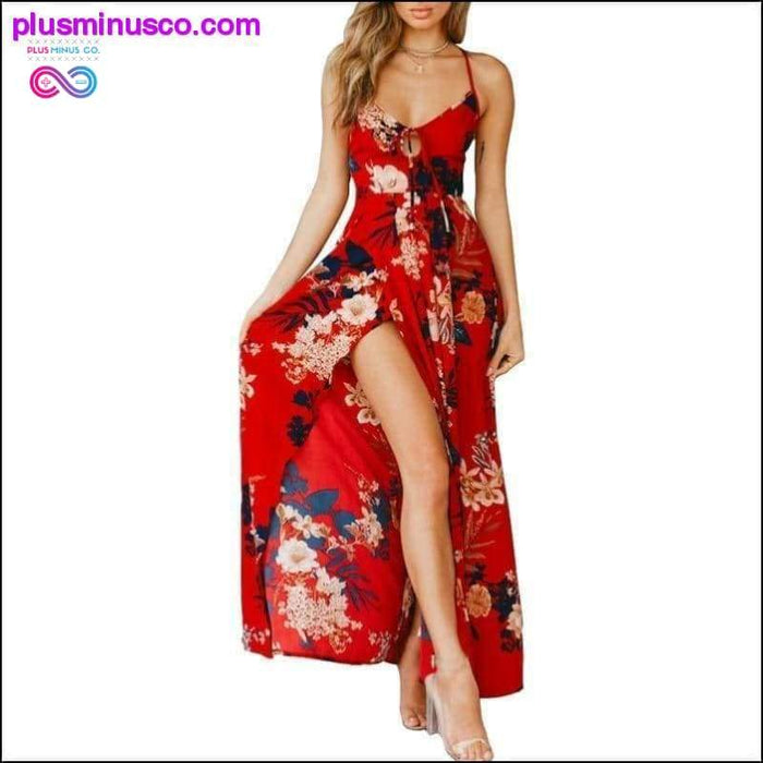 Lily Rosie Girl Red Floral Print Sexy Lace Up V Neck Women - Plus Minus Co.