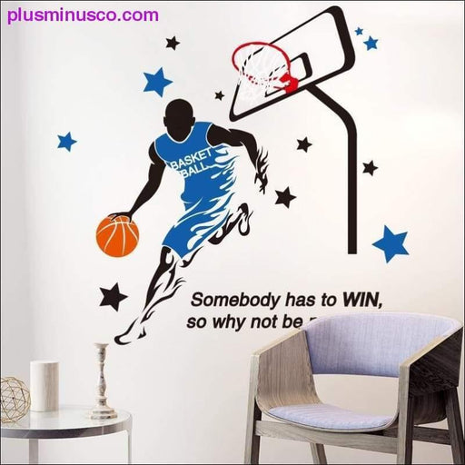NBA Player Playing Basketball Wall Sticker for Living Room, Kids Bedroom - Plus Minus Co.