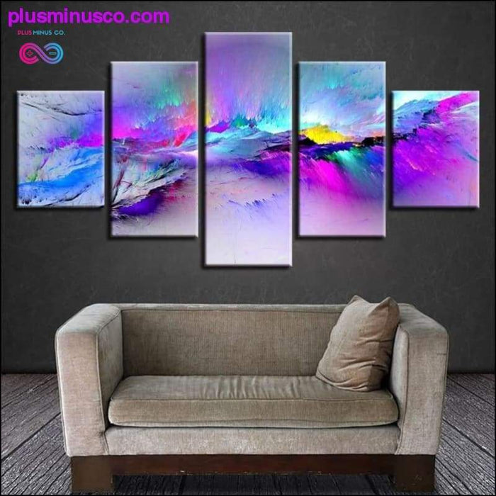 Print Posters Modern Wall Art Frame 5 Pieces Color Abstract - Plus Minus Co.
