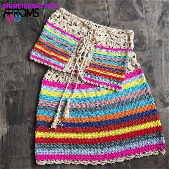 Colorful Striped Strapless Crochet Tube Crop Top and Skirt - Plus Minus Co.