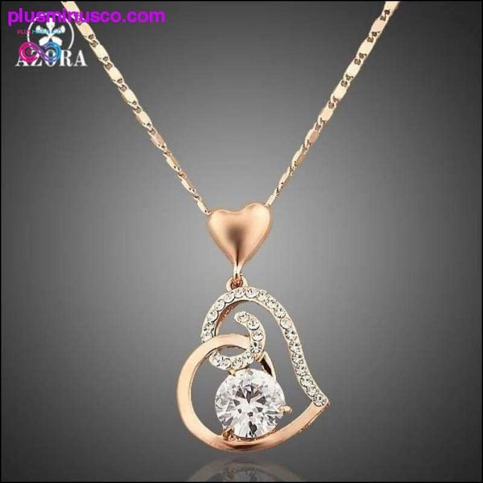 Rose Gold Color Stellux Crystals Heart Pendant Necklace for - Plus Minus Co.