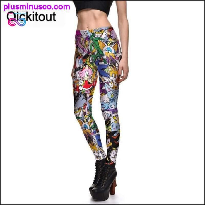 Cheerful Printed Seven Dragon Cartoon Leggings for Small to - Plus Minus Co.