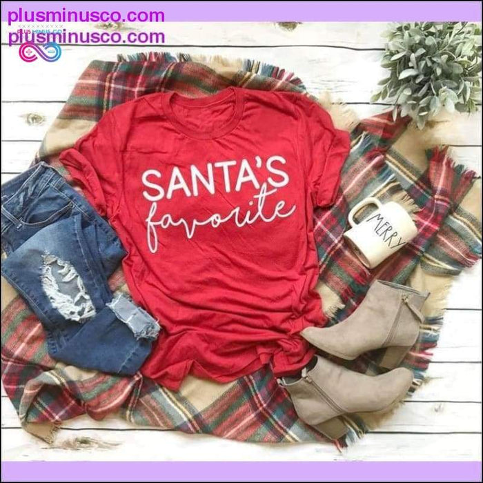 SANTA'S Favorite Funny Hipster Christmas-themed T-shirt at - Plus Minus Co.