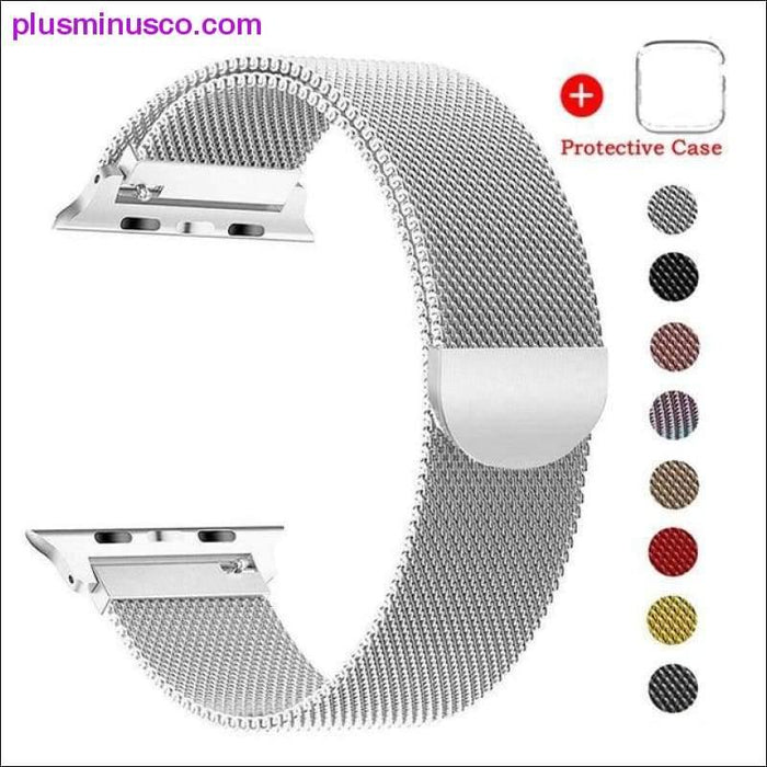 Case+Milanese Loop Strap Stainless Steel Bracelet For Apple Watch 4 5 Band 44mm 40mm Strap For Apple - Plus Minus Co.