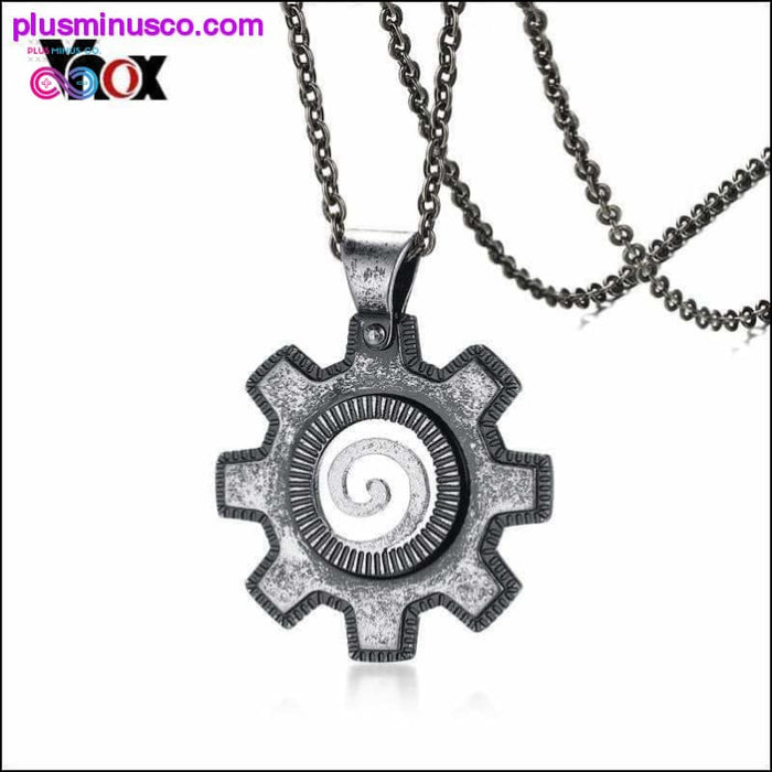 Stainless Steel Gear Necklace and Pendant Vintage Fashion - Plus Minus Co.