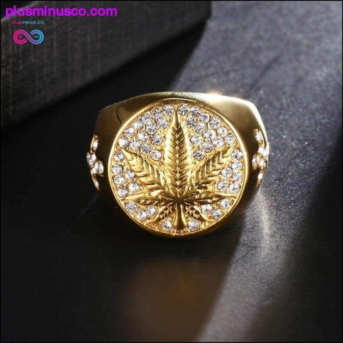 Stainless Steel Iced Out Bling Gold Color Ring with Micro - Plus Minus Co.