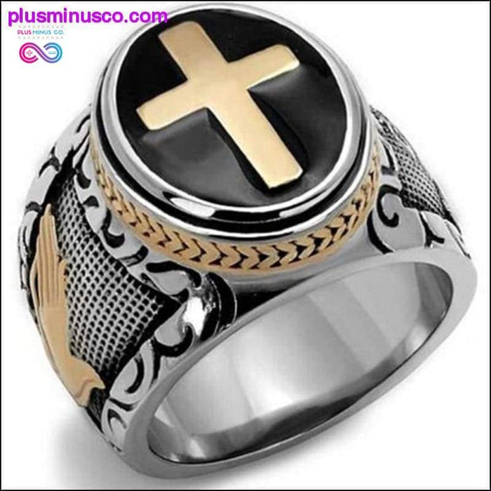 Vintage Silver Gold Holy Cross Ring - Plus Minus Co.