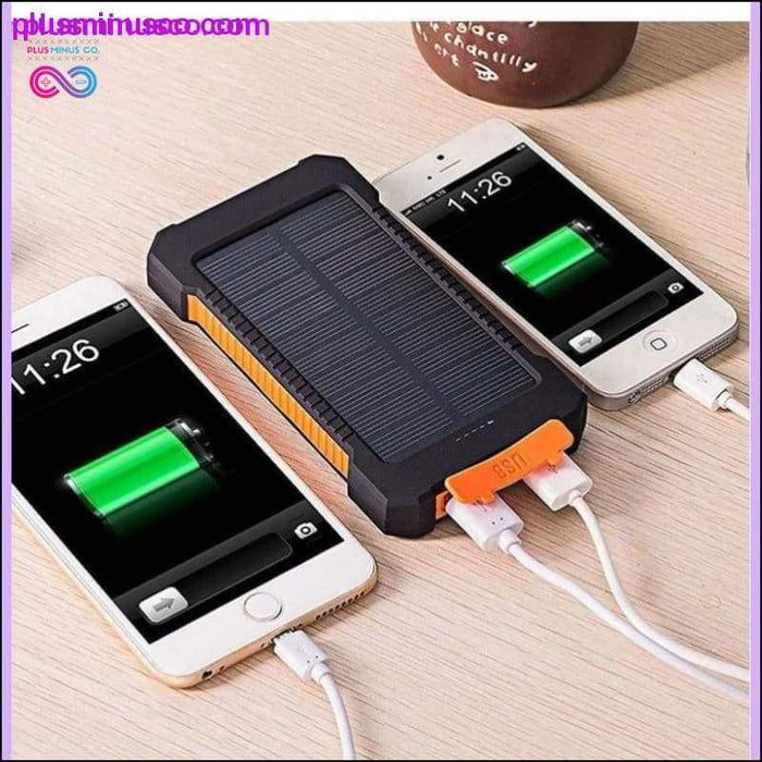 Waterproof Solar Power Charger 2 USB Ports 30000mAh with LED - Plus Minus Co.