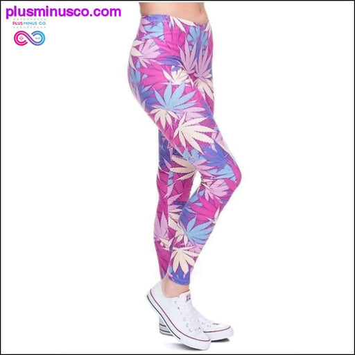 Weed Pink Leaves Print Женские леггинсы Fitness Breathable - Plus Minus Co.