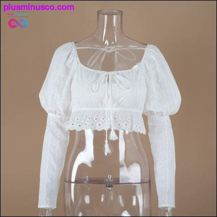 Puff Sleeve Crop Top 2019 Summer Sexy White Tops Hollow Out - Plus Minus Co.