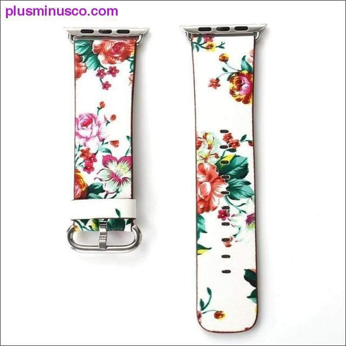 Leather Watch Band for Apple Watch 38mm 42mm Series 1 Series 2 Series 3 Flower Strap Floral Prints - Plus Minus Co.