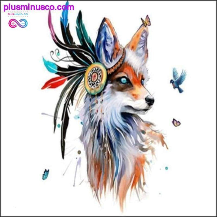 Wolf Head Wall Stickers Colorful Feather Butterfly Birds - Plus Minus Co.