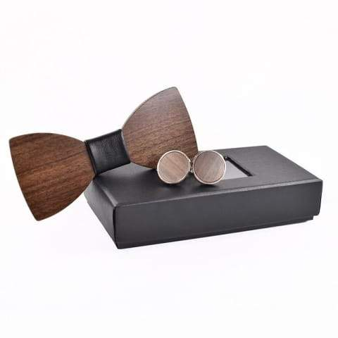 3D Wooden tie Pocket Square Cuff-links Fashion wood bow wedding dinner
