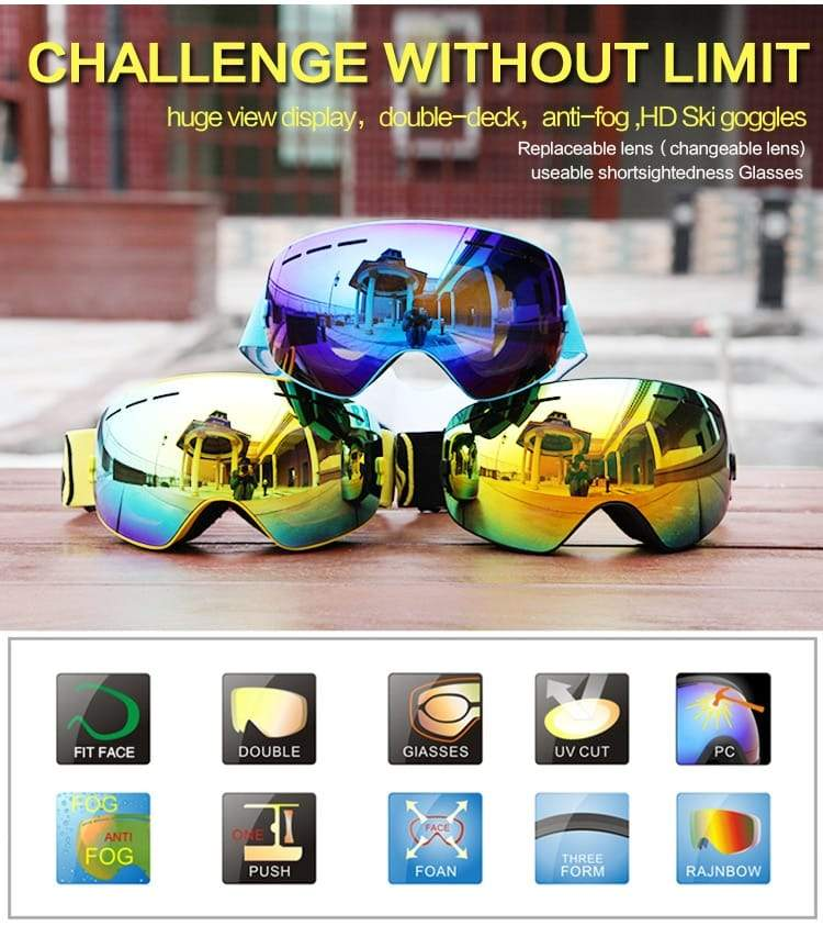 Winter Ski Goggles Double Layers Outdoor UV Protection Anti-fog Unisex