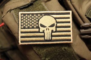 American Flag: Punisher / Gold Morale Patch